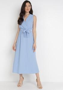 Sukienka born2be z dekoltem w kształcie litery v maxi bez rękawów