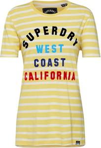 Żółta bluzka Superdry z bawełny z krótkim rękawem