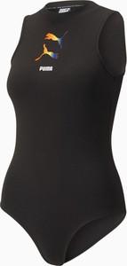 Czarna bluzka Puma z okrągłym dekoltem w sportowym stylu