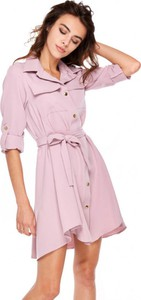 Różowa sukienka Ooh la la z długim rękawem koszulowa mini