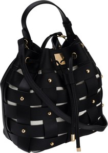 Czarna torebka Monnari w wakacyjnym stylu z aplikacjami ze skóry ekologicznej
