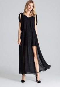 Czarna sukienka Figl maxi z dekoltem w kształcie litery v