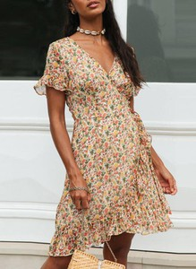 Sukienka Sandbella w stylu boho z krótkim rękawem mini