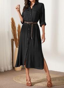 Czarna sukienka Cikelly z długim rękawem koszulowa z kołnierzykiem