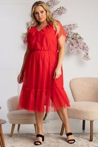 Czerwona sukienka KARKO z krótkim rękawem z dekoltem w kształcie litery v dla puszystych