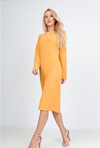 Żółta sukienka Royalfashion.pl z długim rękawem