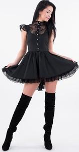 Czarna sukienka Lulu Fashion & Style Poland gorsetowa bez rękawów mini