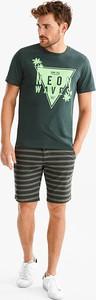 Zielony t-shirt ANGELO LITRICO z krótkim rękawem z bawełny w młodzieżowym stylu