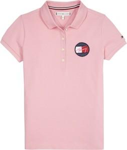 Różowa koszulka dziecięca Tommy Hilfiger z krótkim rękawem