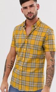 Żółta koszula River Island z krótkim rękawem z klasycznym kołnierzykiem