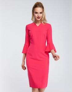 Różowa sukienka MOE z długim rękawem ołówkowa z dekoltem w kształcie litery v