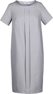 Sukienka Fokus z krótkim rękawem z okrągłym dekoltem z lnu