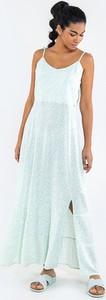 Miętowa sukienka Big Star maxi na ramiączkach