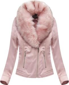 Różowa kurtka Libland ze skóry ekologicznej