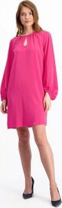 Różowa sukienka Lavard z długim rękawem mini