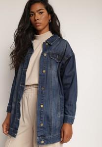 Granatowa kurtka Renee długa z jeansu w stylu casual