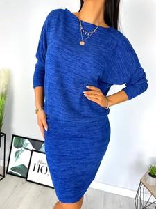 Niebieska sukienka ModnaKiecka.pl z długim rękawem w stylu klasycznym midi