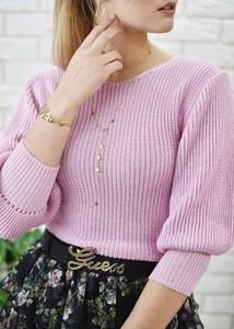Różowy sweter Fason z bawełny
