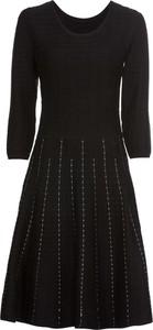 Czarna sukienka bonprix BODYFLIRT rozkloszowana w stylu klasycznym midi
