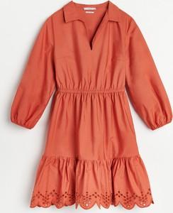 Czerwona sukienka Reserved mini z długim rękawem z dekoltem w kształcie litery v
