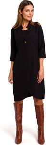 Sukienka Style z tkaniny z kołnierzykiem z długim rękawem