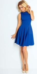 Niebieska sukienka Coco Style midi z okrągłym dekoltem bez rękawów