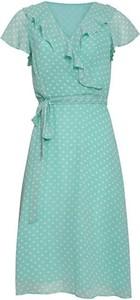 Niebieska sukienka Smashed Lemon z dekoltem w kształcie litery v midi z krótkim rękawem