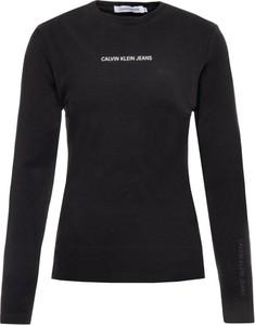 Czarna bluzka Calvin Klein z długim rękawem w stylu casual