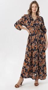 Granatowa sukienka born2be w stylu boho z dekoltem w kształcie litery v z długim rękawem