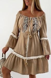 Brązowa sukienka IVET mini z długim rękawem hiszpanka