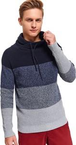 Granatowy sweter Top Secret z dzianiny