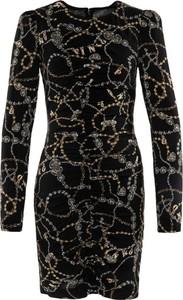 Czarna sukienka Pinko z okrągłym dekoltem z długim rękawem