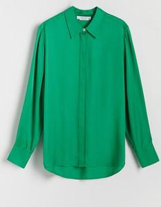 Zielona koszula Reserved w stylu casual z długim rękawem z kołnierzykiem