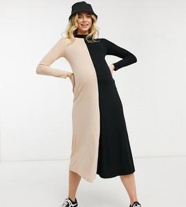 ASOS DESIGN Maternity – Prążkowana sukienka midi z długimi rękawami w kolorach camelowym i czarnym-Beżowy