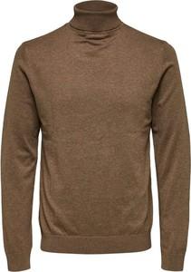 Brązowy sweter Selected Homme w stylu casual z wełny