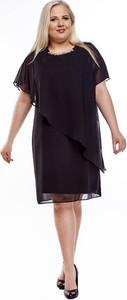 Sukienka Fokus z dzianiny wyszczuplająca z krótkim rękawem