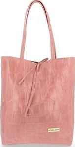 Różowa torebka VITTORIA GOTTI duża ze skóry na ramię
