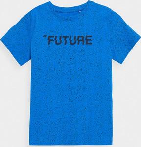 Niebieska koszulka dziecięca 4F z bawełny z krótkim rękawem dla chłopców