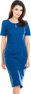 Niebieska sukienka Awama z krótkim rękawem