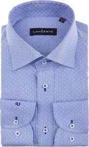 Niebieska koszula LANCERTO z długim rękawem z tkaniny