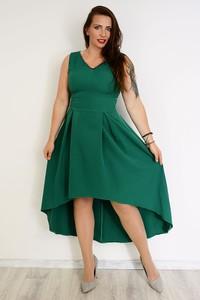 Zielona sukienka Marka Polska z tkaniny z dekoltem w kształcie litery v