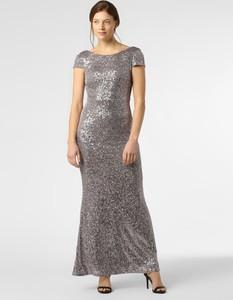 Srebrna sukienka Vera Mont Collection z krótkim rękawem prosta maxi