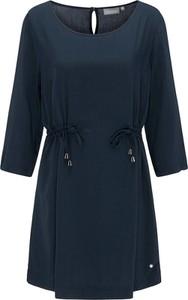 Granatowa sukienka BROADWAY NYC FASHION z długim rękawem z okrągłym dekoltem