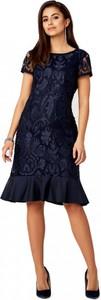 Granatowa sukienka POTIS & VERSO z krótkim rękawem midi z okrągłym dekoltem