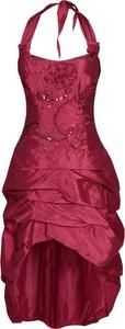 Czerwona sukienka Fokus w stylu glamour midi z krótkim rękawem