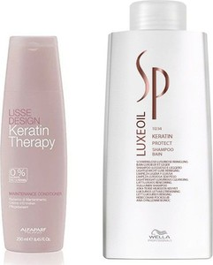 Alfaparf Milano Alfaparf Keratin Therapy Maintenance and SP Luxe Oil Keratin | Zestaw wygładzająco-regenerujący: odżywka 250ml + szampon 1000ml - Wysyłka w 24H!