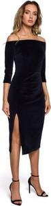 Czarna sukienka MOE z długim rękawem z dzianiny hiszpanka