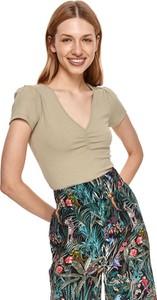 Bluzka Top Secret z dekoltem w kształcie litery v w stylu casual