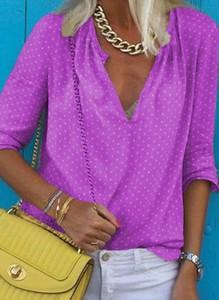Różowa bluzka Cikelly w stylu casual z długim rękawem z dekoltem w kształcie litery v