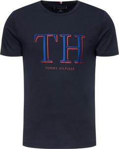 Granatowy t-shirt Tommy Hilfiger z krótkim rękawem